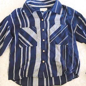 Blue-striped collar blouse